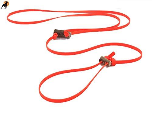 Biothane Beta Pirschleine Flüsterleine 9mm mit 2 Hornknebel. 2 Längen, viele Farben