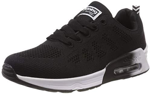 Zapatillas de Deporte Mujer Running Zapatos Gimnasia Entrenamiento Sneakers Air Cushion 4 CM Cordones Transpirables Sport Negro Azul Gris 34-39