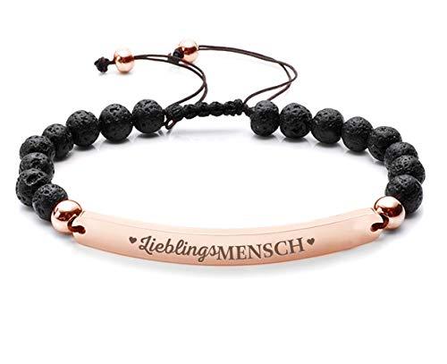 Silvity Damen Freundschafts-Armband Edenlstahl Gravur Lieblingsmensch veredelt mit einem Swarovski¨ Kristall 16,5 cm bis 20,5 cm (Schwarz-Rose)