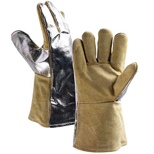 Leren Forge Lassen Handschoenen Reflecterende Aluminium Folie/Warmte-isolatie, BBQ/Camping/Koken Handschoenen met 14 Inch Lange Mouwen, Open haard Forge Pot Houder Handschoen, 0.4Kg