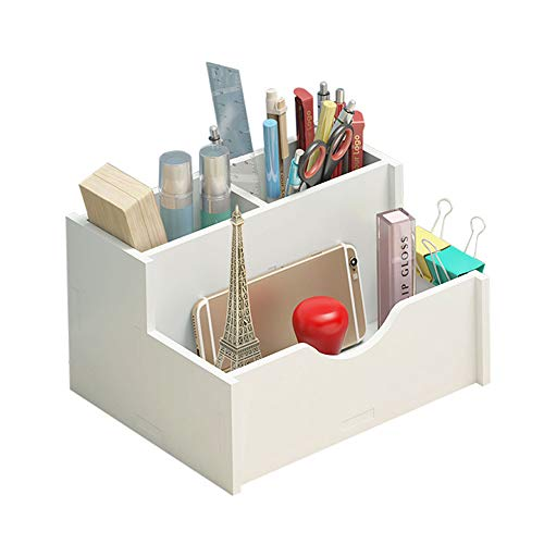 デスク スタンド 収納ボックス 組み立て リモコン 文房具 オフィス 机上用 卓上スタンド 収納 名刺入れ 整理整頓 ペンスタンド おしゃれ 卓上 収納 用品 デスク 文具収納 筆立て ブラスチック製 (ホワイト)