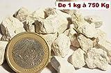 750 Kg de gravier Blanc concassé pour Jardin, allée et décoration à l'intérieur et à l'extérieur calcaire 6-10 mm