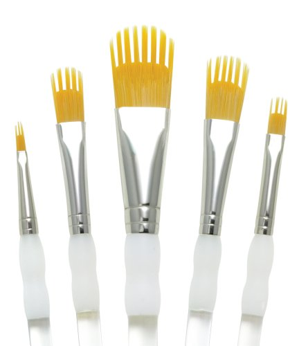 Aqualon RAQUA-201 Royal and Langnickel Wisp Short Handle Paint Brush Set, Filbert, 5-Piece