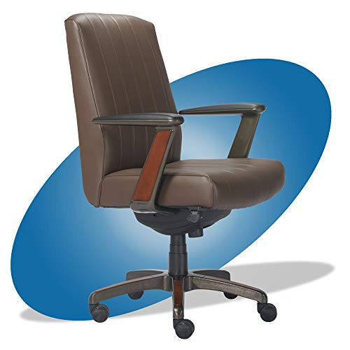La-Z-Boy Bennett Modern Executive Lumbar Support, Rich Wood Inlay, High-Back Ergonomic Office Chair, Bonded Leather, Brown