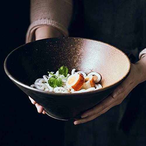 LIXUE Grande soupe Ramen Noodle Bol Rétro salade de fruits Pâtes Service bol de mélange Vaisselle en céramique Four Four à micro-ondes Safe (Taille : 9 inches)