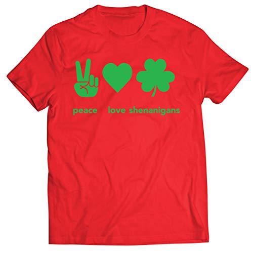 lepni.me Camisetas Hombre Paz y Amor Shenanigans Regalo para la Fiesta del Día de San Patricio en Irlanda (XXL Rojo Multicolor)