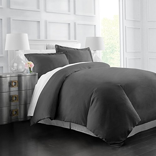 Italian Luxury Soft Brushed 1500 Series Microfiber Duvet Cover Set, Hotel Quality and Hypoallergenic with Zippered Closure and Matching Shams -Full/Queen - Gray