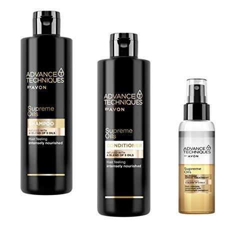 Avon Set Advance Techniques Supreme Oils Shampoo + Pflegespülung je 250ml und 2 Phasen Pflegespray 100ml mit 5 wertvollen Ölen