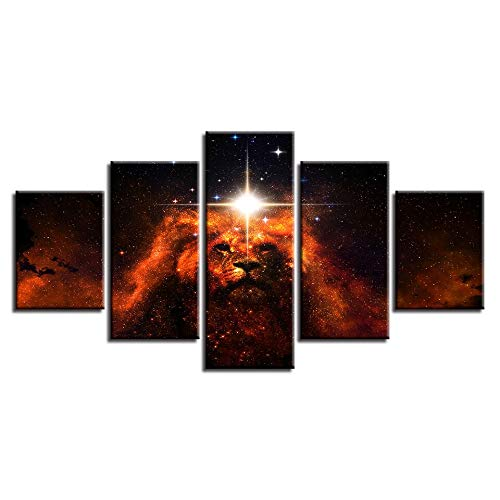 Gdlkss 5 Piece Canvas Wall Art - Lion Nebula For Living Room Bedroom Home Decorations - 200x100cm