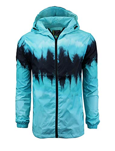 SCREENSHOTBRAND-S51006 Lightweight Hooded Water Resistant Windbreaker - Tie Dye Full Zipper Wind Rain Jacket-Teal-Medium