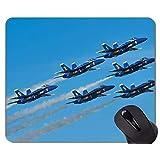 ゲーミングマウスマット、ブルーエンジェルジェット戦闘機滑り止めラバーベースマウスパッド