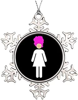 Liz66Ward Drag Queen Home Snowflake Christmas Ornaments Pewter Novelty Funny Christmas Decorations for Tree for Home