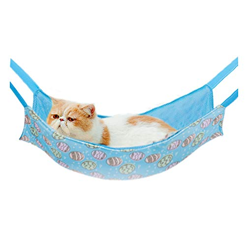 MKDcom Pet Cage Hammock Cooling Hammock Bed for Cats and Small Animals, Ice Silk Hanging Bed Cooling Pads for Ferret Rat Chinchilla Hamster Cavy Rabbit, Stay Cool in Summer, Large(Blue)