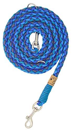 Hundeleine Balu aus Paracord, Führleine, Navi Blue + Colonial Blue + Royal Blue + Caribbean Blue, Handgeflochten, Individuelle Länge, Mehrfach Verstellbar, 1.5 Zentimeter breit
