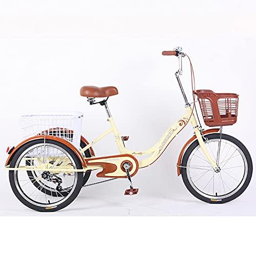 T-Day Triciclo para Adultos Triciclo Adulto 20in Tres Ruedas Crucero Bicicleta Manillar Ajustable 3 Motos De Ruedas con Canasta Grande para Personas Mayores, Mujeres, Hombres.(Color:De Color Crema)