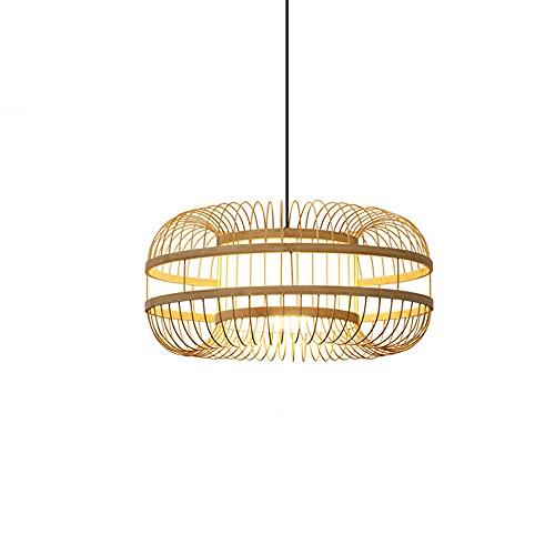 JJRPPFF Candelabro de linterna de bambú, candelabro E27 de estilo chino tejido de bambú, candelabro de decoración de salón de té en el jardín, iluminación de la tienda de ollas calientes del restauran