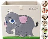 Flöckchen Caja de almacenamiento para niños, caja de juguetes para habitación infantil, caja de juguetes (33 x 33 x 33 cm) que cabe en la estantería Kallax, diseño de animales (Emilia el elefante)