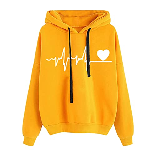 SoeHir Women's Hooded Sweater Warm Blouse Casual Printed Drawstring Long-Sleeved Sweatshirt