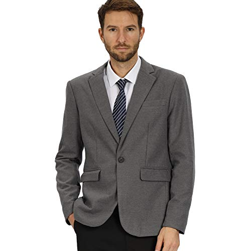 Mens Casual Slim Fit One Button Woolen Gray Tweed Suit Jacket