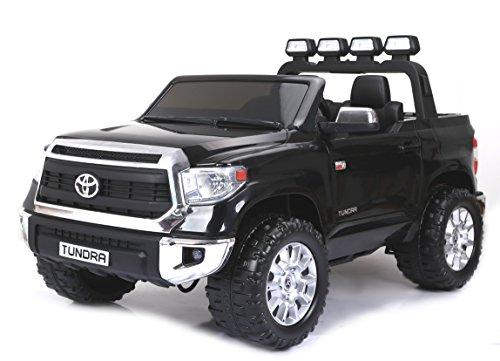 RIRICAR Toyota Tundra XXL, Negro, Producto BAJO Licencia, con Mando a Distancia 2.4Ghz, 24V, 2 X 200W Motor, Freno eléctrico, Control Remoto, Dos Asientos en Cuero