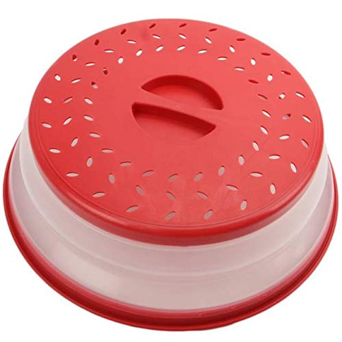 Collapsible Space saver Microwave Splatter Proof Food Plate Cover Lid 10 inch Round Easy Grip Dishwasher Safe (Red/Clear)