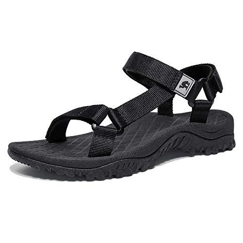 CAMEL CROWN Sandalias Deportivas para Mujer Zapatos de Verano Zapatillas Planas Sandalias de Playa Senderismo Transpirables Zapatos para Caminar Sandalias Exterior Negro Azul Gris