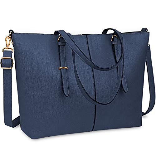 Women Handbag Laptop Tote Bag 15.6 Inch Large Leather Shoulder Bag Designer Lightweight Computer Tote Bag Lady Stylish Handbags for Work Business School College Travel Blue