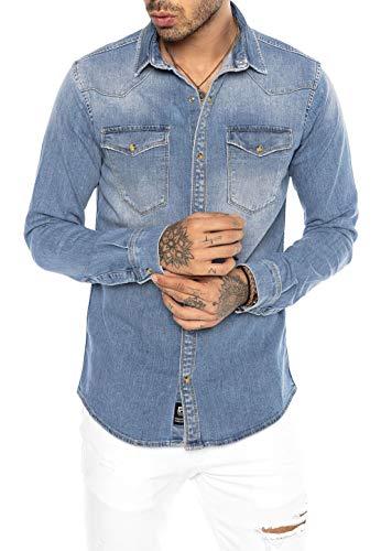 Redbridge Herren Jeanshemd Freizeithemd Premium Denim Western Hellblau XL