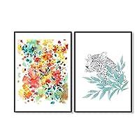 chenjiaxu カラフルなタイガーツリーグリーンリーフフラワーフローラルポスターウォールアートキャンバスプリンホームデコレーションドーム抽象色水彩-40x60cmx2フレームなし