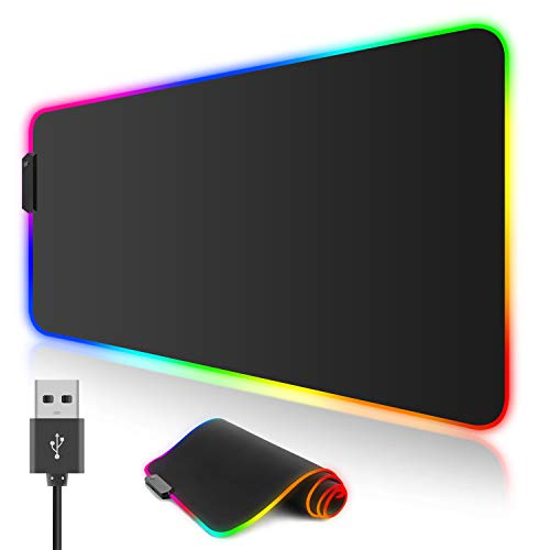 Large Mouse Pad for Gaming ,Yubella RGB Mouse Mat 31.5x11.8 inches,Soft Non-Slip Rubber Base,12 Lighting Modes,Waterproof Surface,Stain Resistant,Ultra-Thick Keyboard Desk Pad for Gamers,Office,Home