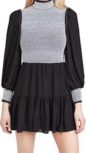 Alice + Olivia Women's Elvira Smock Bodice Tiered Dress, Black/White, 0