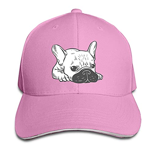 Cream Frenchie Black Men Women Adjustable Baseball Cap Trucker Hats Sun Hat Sandwich Cap Pink One Size