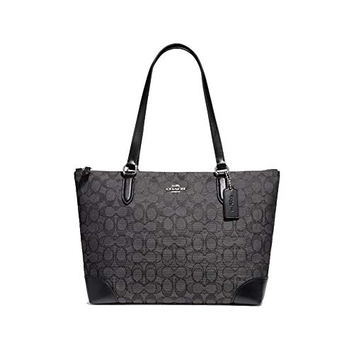 Coach ZIP TOP TOTE IN SIGNATURE JACQUARD, Black Smoke, Medium