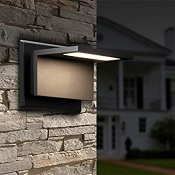 Inowel Wall Light Outdoor LED Wall Mount Lamp Modern Wall Sconce Lighting Lantern Fixture Black Aluminum Lights for Porch Front Door Garden Yard Patio IP54 Waterproof 10W 680Lm 3000K