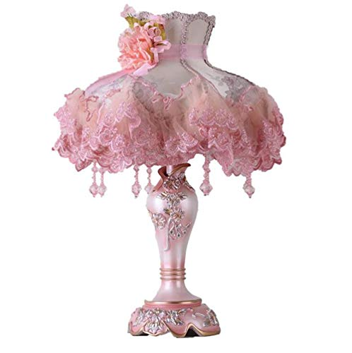 Sazuitou Top qualität Europäischen Spitze tisch lampe Luxus Dimmbare Prinzessin Tisch Lampe Viktorianischen Schreibtisch Lampe Floral Tuch Kunst + Harz + bronze (Pink)