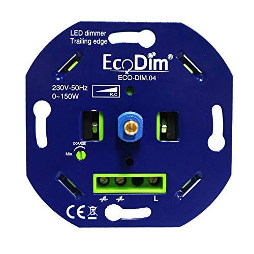 LED Dimmer 230V - Phasenabschnitt, 0–150 W, Push-Pull-Schalter, Drehdimmer für LED-Lampen, eingebaut - 100% Silent - EcoDim