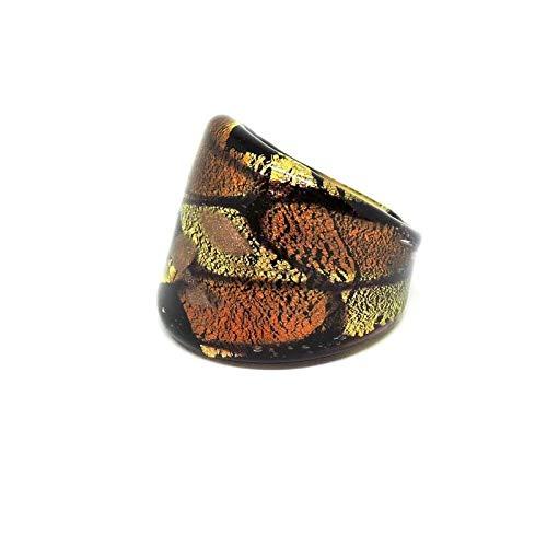 Genuine 24Kt Gold Amber and Aventurine Murano Glass Ring with Gift Box Orange