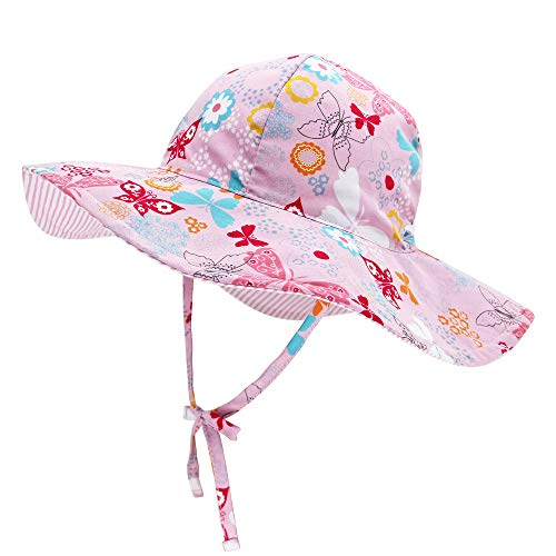 Baby Sides Bucket Sun Hat Wide Brim for Boy Girl Toddler Kids Play Hat Adjustable Elastic Summer Reversible Cap with uv Protection