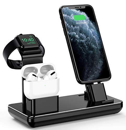 Charing Station for Apple Watch iPhone & Airpods,YoFeW Charger Stand for iWatch Series 5/4/3/2/1, AirPods and iPhone 11/11 Pro/11 Pro Max/Xs/X Max/XR/X/8/8Plus/7/7 Plus /6S /6S Plus, Upgraded
