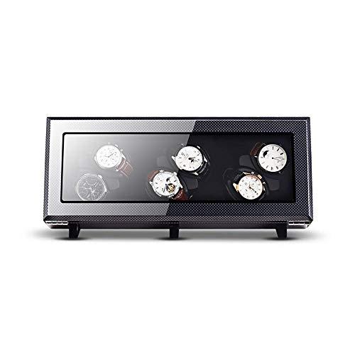FGVDJ Caja de Reloj, Puede Contener 6 Relojes, Motor antimagnético Ultra silencioso, Almohada de Mesa Suave y elástica, Fibra de Carbono Exterior biselada en el Interior n