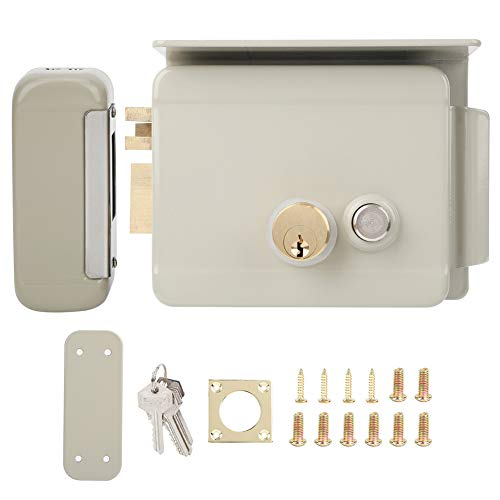 Electric Control Lock, with Mechanical Key Door Entry Lock, Outdoor Home Security Lock Leftward Unlock Smart Integrated Access Control for Hostels Schools