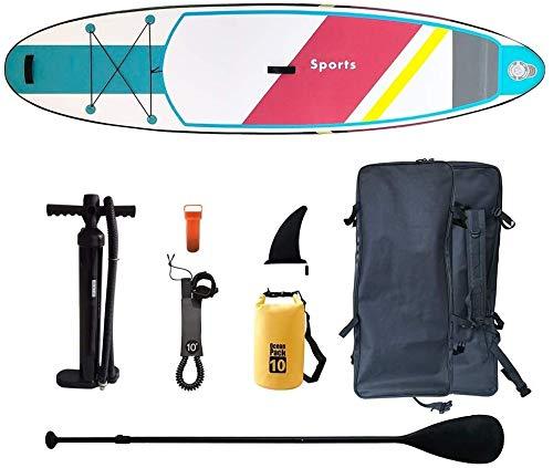 FANLIU Inflable Inflable Stand Up Paddle Board, Paddle Ajustable |Llevar Mochila |bombear |Seguridad Tobillo Correa |Kit de reparación |Mochila, Apto for Principiantes y Adultos