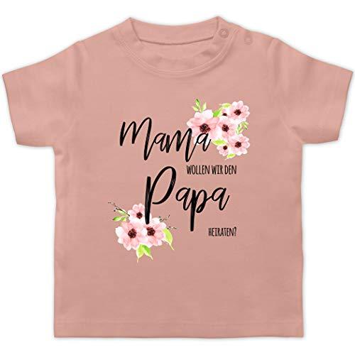 Anlässe Baby - Mama wollen wir den Papa heiraten Blumen - 1/3 Monate - Babyrosa - willst du Meine Mama heiraten - BZ02 - Baby T-Shirt Kurzarm