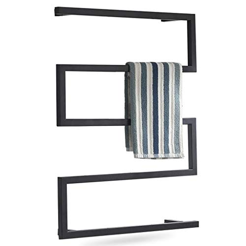 Toalleros de Baño Toallero Barra Toallero Negro toalla toallero calentador eléctrico montado en la pared de la curva de calefacción Toalleros - Secador de metal rack de ropa y toallas, un botón interr