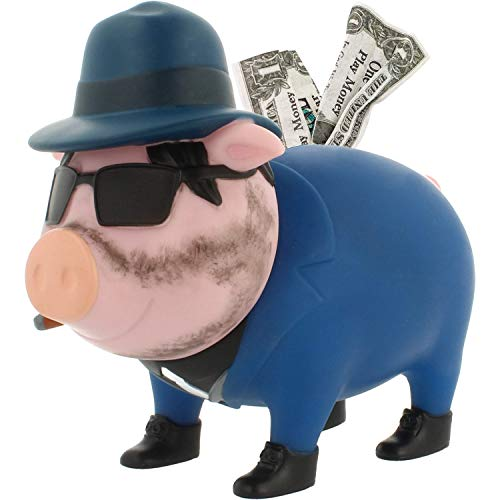 LILALU Spardose BIGGYS Mafioso, Sparschwein Kopf drehbar Sparbox Sparbüchse Münzeinwurf Piggy Bank Tresor Kinder