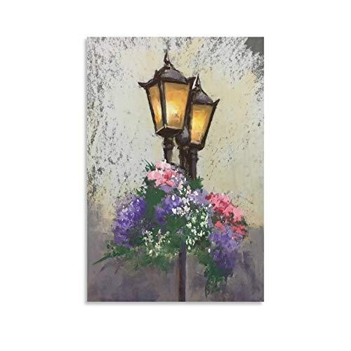NFSL Póster de la lámpara de calle en colores pastel y arte de la pared de la impresión moderna de la decoración del dormitorio familiar carteles 40 x 60 cm