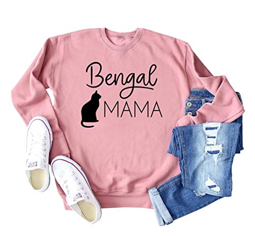 MK Shop Limited Women Bengal Cat Mama Sweatshirt Lovely Cat Lovers' Pullover Shirt Casual Cute Holiday Top Size 2XL (Pink)