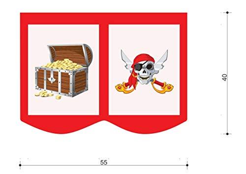 XXL Discount bedtas speeltas bed tas voor kinderbed afmetingen: 55 x 40 cm, 100% katoen opslag bedaccessoires stapelbed speelbed stoffen tas (rood/wit, pirate)