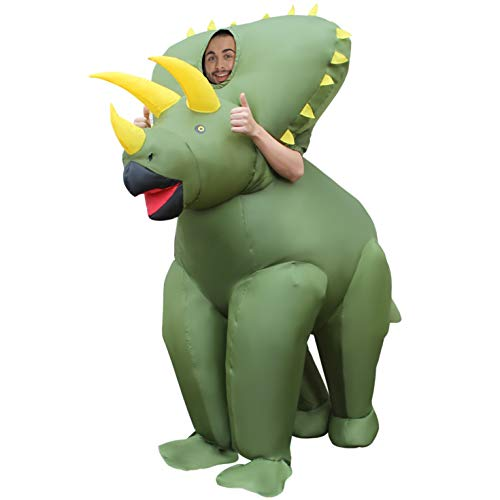 Morph MCGITR Aufblasbares Kostüm, Unisex, Triceratops Dinosaurier Erwachsene, Einheitsgröße