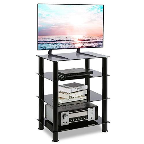 RFIVER Mueble HiFi Mesa TV Cristal con 4 Estantes para Equipos de Música 60 x 42 x 75.5 cm HF1001